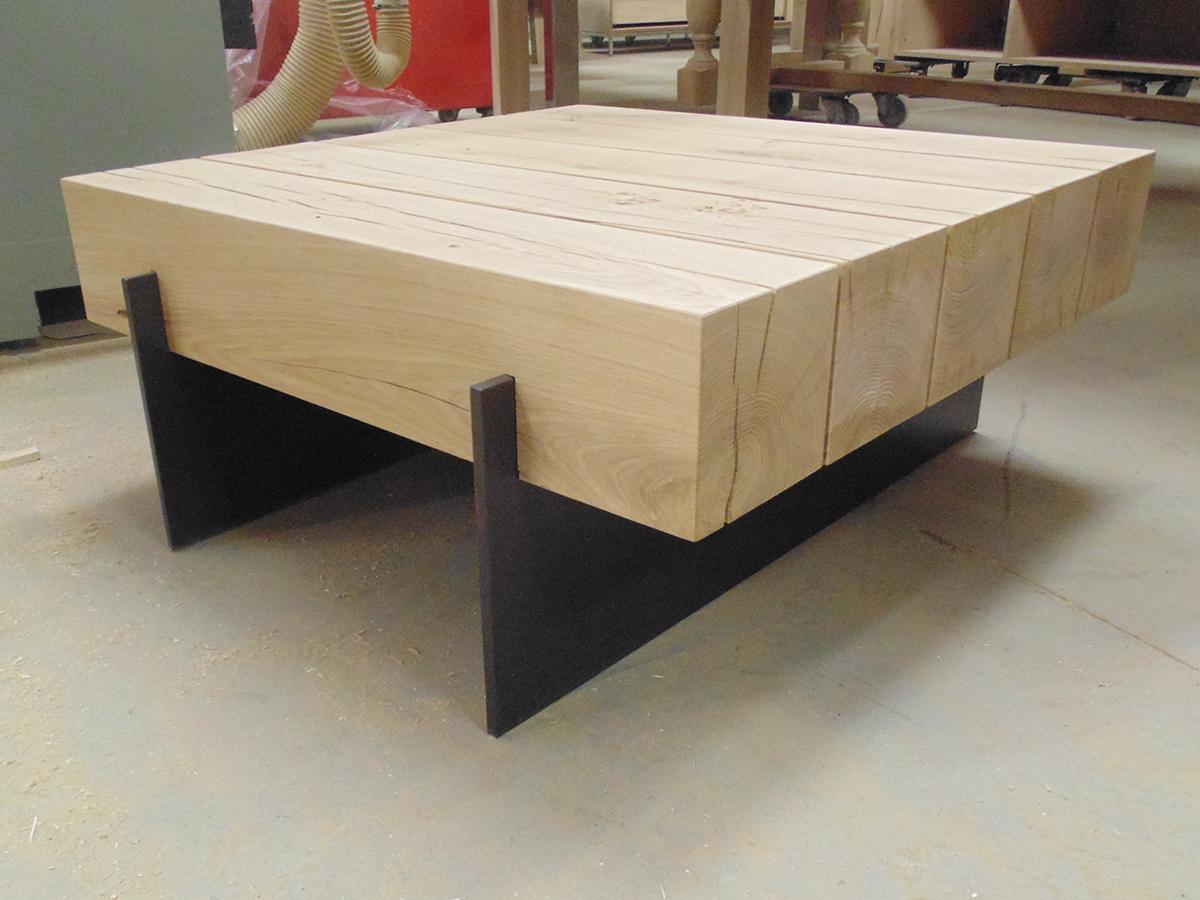 Salontafel massief eiken robuust staal te boveldt meubelmakerij
