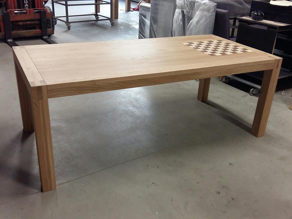 Moderne eettafel schaaktafel eiken walnoot essen te boveldt meubelmakerij interieurbouw - Moderne eettafel ...