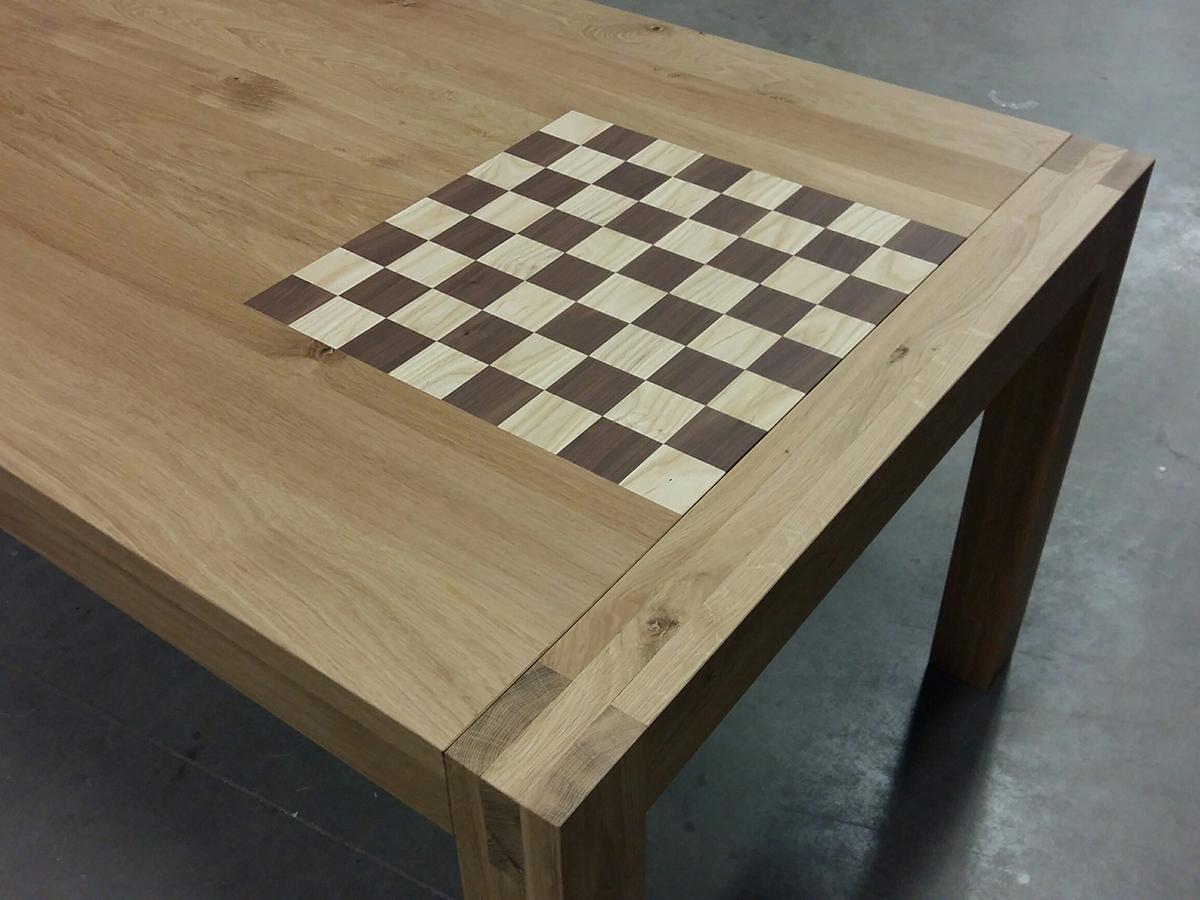 Moderne eettafel schaaktafel eiken walnoot essen te boveldt meubelmakerij interieurbouw - Eettafel moderne ...