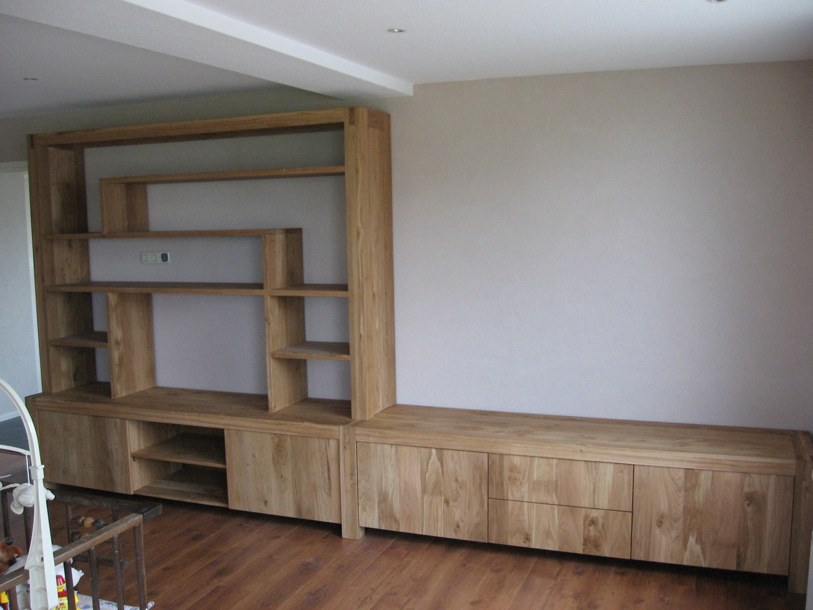 Boekenkast tv meubel eikenhout blanke olie | Te Boveldt ...