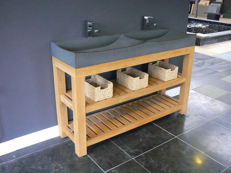 Badkamermeubel waskom natuursteen eiken te boveldt meubelmakerij interieurbouw - Badkamermeubels steen ...