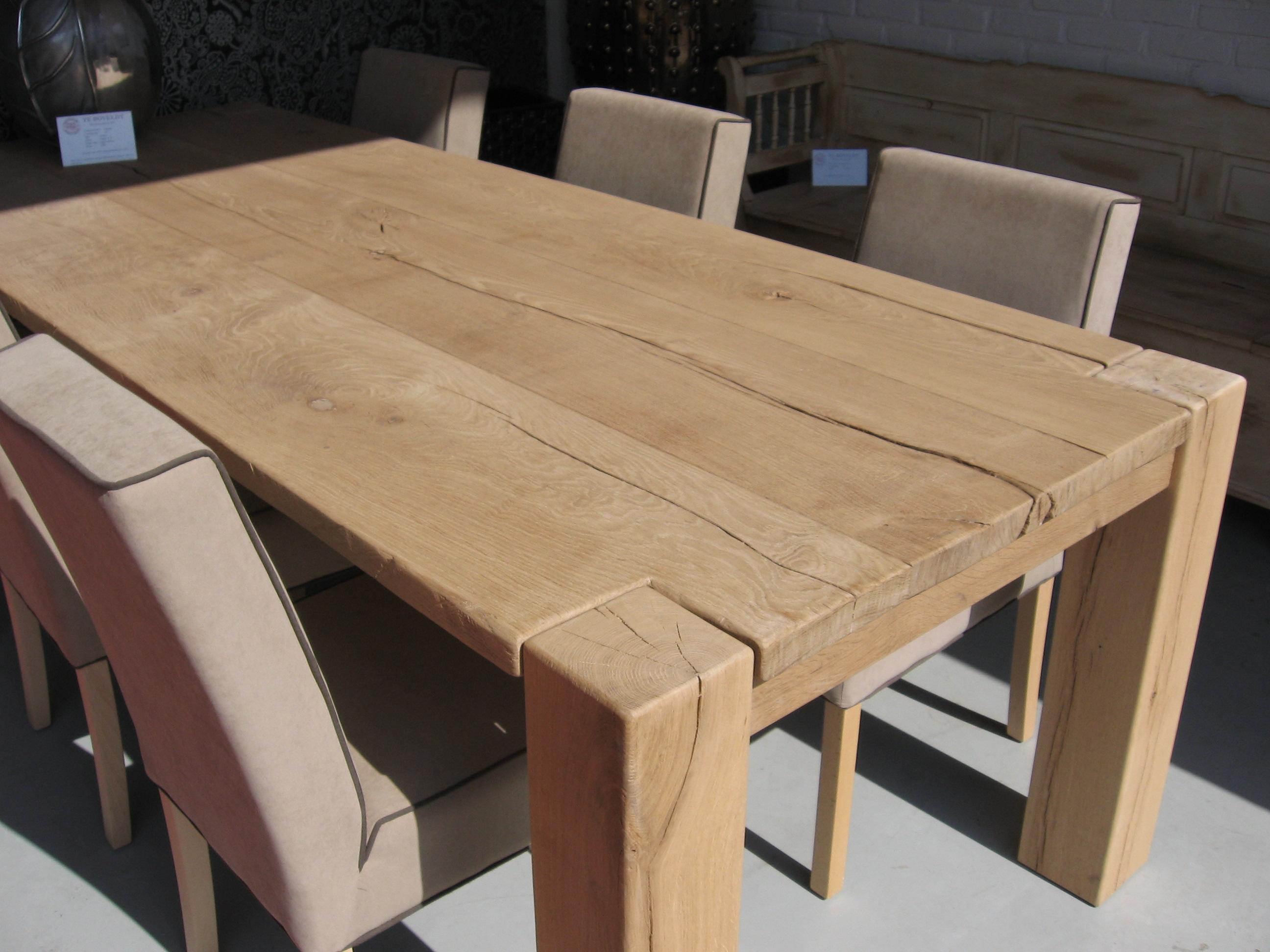 Robuust eikenhouten tafel scheuren knoesten   Te Boveldt Meubelmakerij  u0026 Interieurbouw