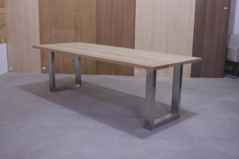 Rvs Onderstel Tafel : Eiken tafel met rvs onderstel: eettafel met eiken blad onderstel rvs