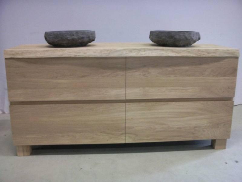 badkamermeubel eikenhout 2 natuurstenen waskommen te