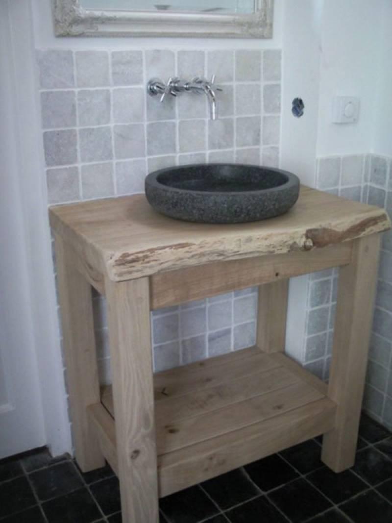Badkamermeubel eikenhout schorsrand natuursteen te boveldt meubelmakerij interieurbouw - Badkamermeubels steen ...