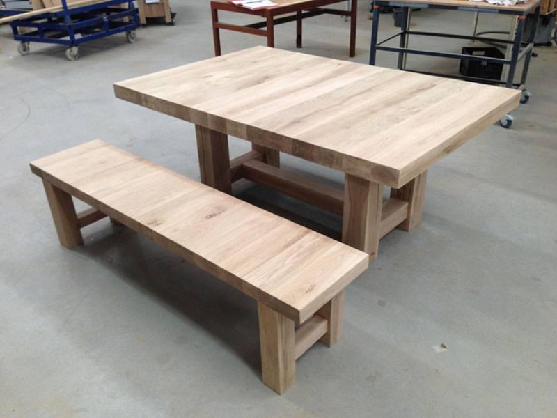 Bank eikenhout eetkamer modern robuust te boveldt meubelmakerij interieurbouw - Modern eetkamer model ...