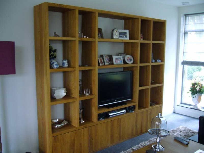 Boekenkast tv meubel eikenhout   Te Boveldt Meubelmakerij  u0026 Interieurbouw