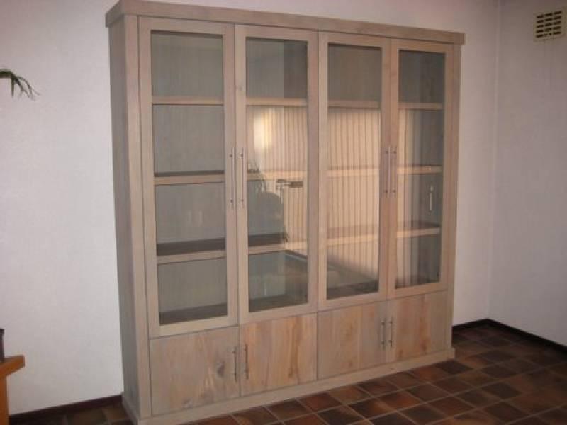 Buffetkast eiken rvs grepen deuren glas te boveldt meubelmakerij interieurbouw - Keuken glas werkplaats ...