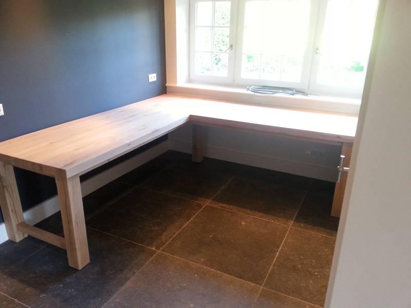 Rustiek Eiken Kast : Bureau hoek rustiek eiken maatwerk te boveldt meubelmakerij