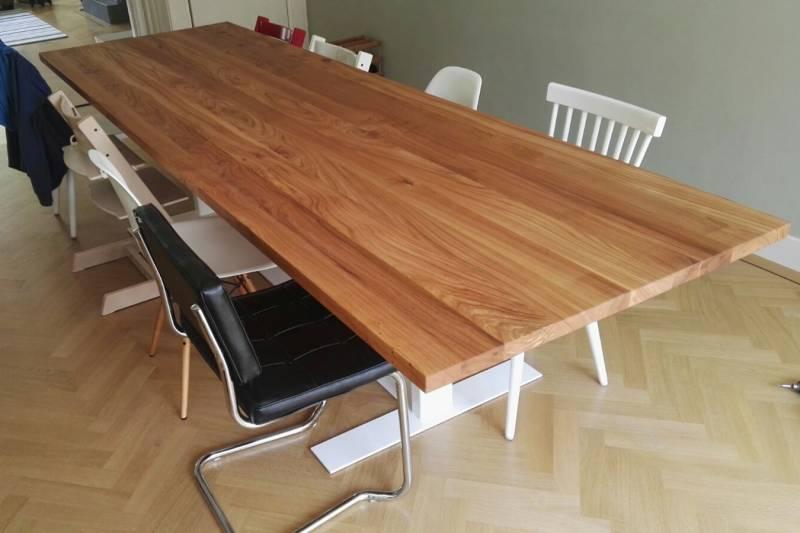 Eettafel iepenhout gepoedercoat staal ral modern te for Eettafel modern