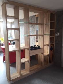 Eettafel inbouwkast roomdivider eikenhout haard glas te boveldt meubelmakerij interieurbouw - Keuken glas werkplaats ...