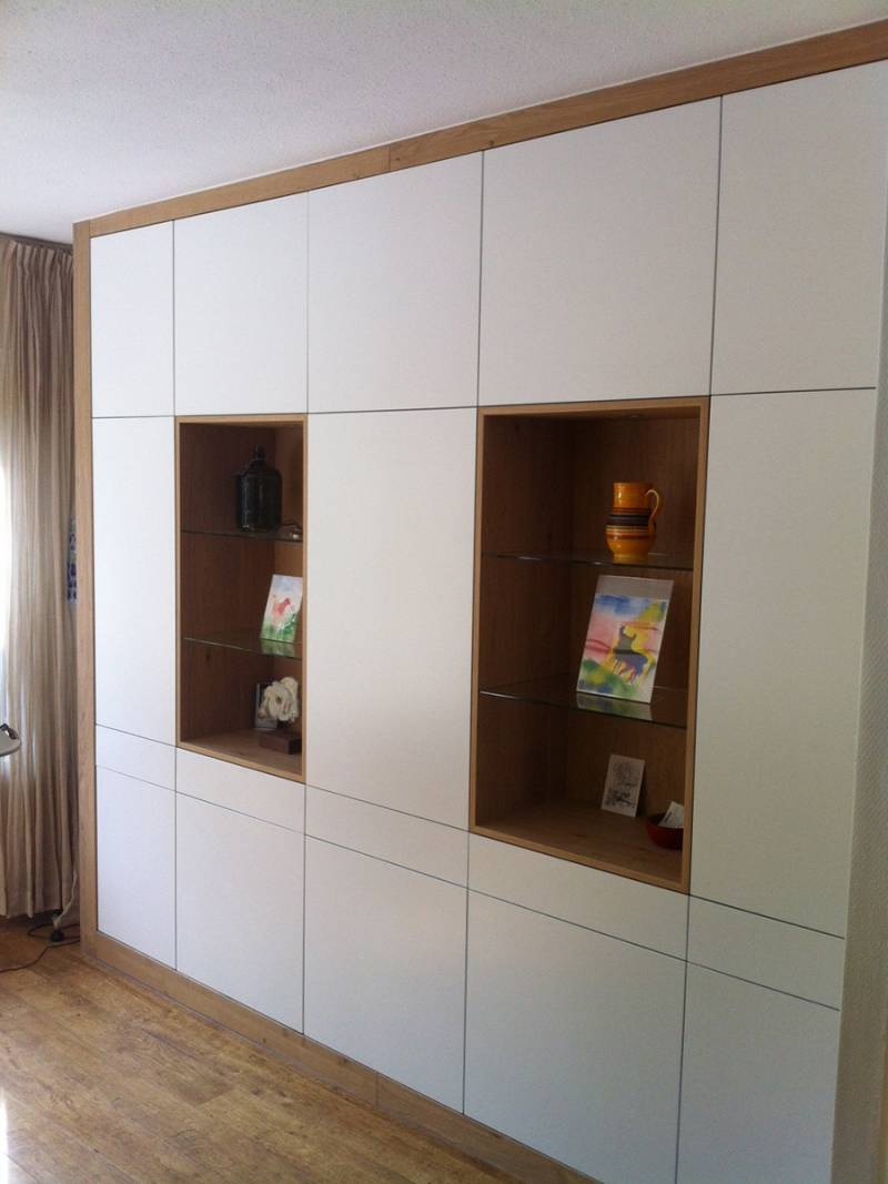 Inbouwkast ral eikenhout glas greeploos deuren laden te boveldt meubelmakerij interieurbouw - Keuken glas werkplaats ...