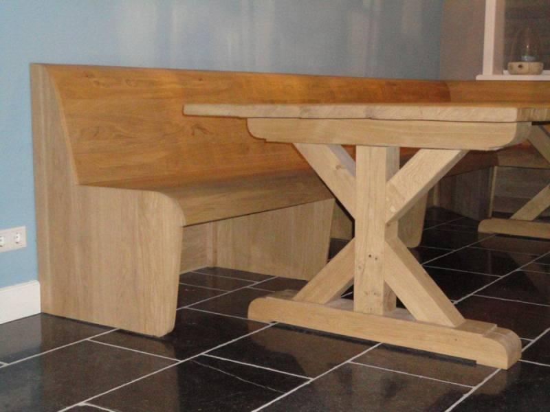 Landelijke tafel eikenhout met bank   Te Boveldt Meubelmakerij  u0026 Interieurbouw