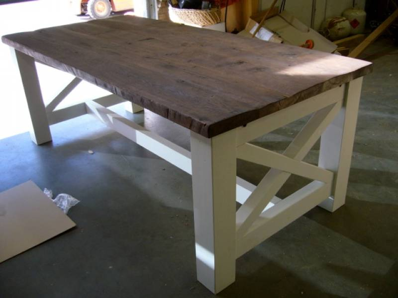 landelijke tafel grenen eiken RAL9010   Te Boveldt Meubelmakerij  u0026 Interieurbouw