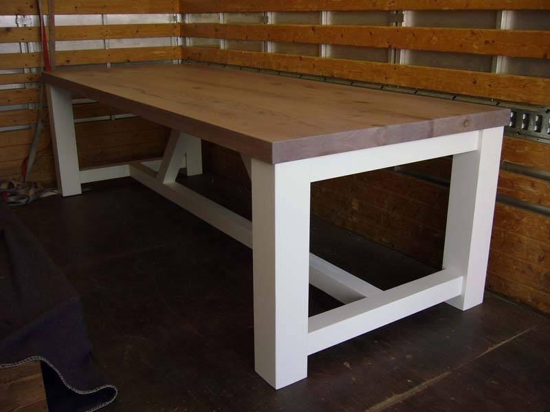 landelijke tafel grenen met eiken RAL9010 notenolie   Te Boveldt Meubelmakerij  u0026 Interieurbouw