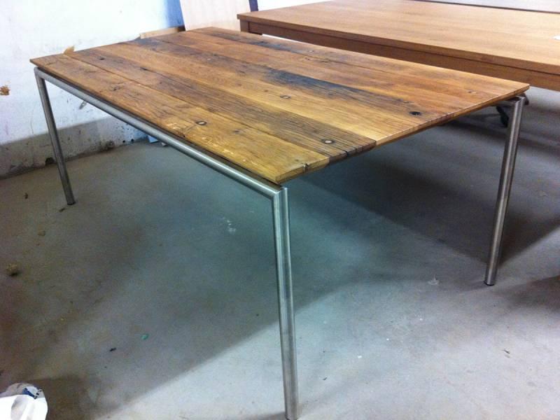 Rvs Onderstel Tafel : Moderne tafel oud eiken met rvs frame te boveldt meubelmakerij