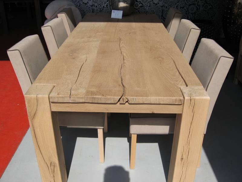 Robuust eikenhouten tafel scheuren knoesten te boveldt