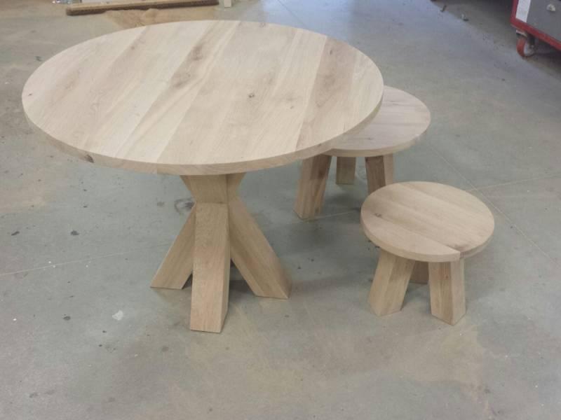 Licht Eiken Eettafel : Ronde eettafel salontafel set eikenhout licht rustiek te boveldt