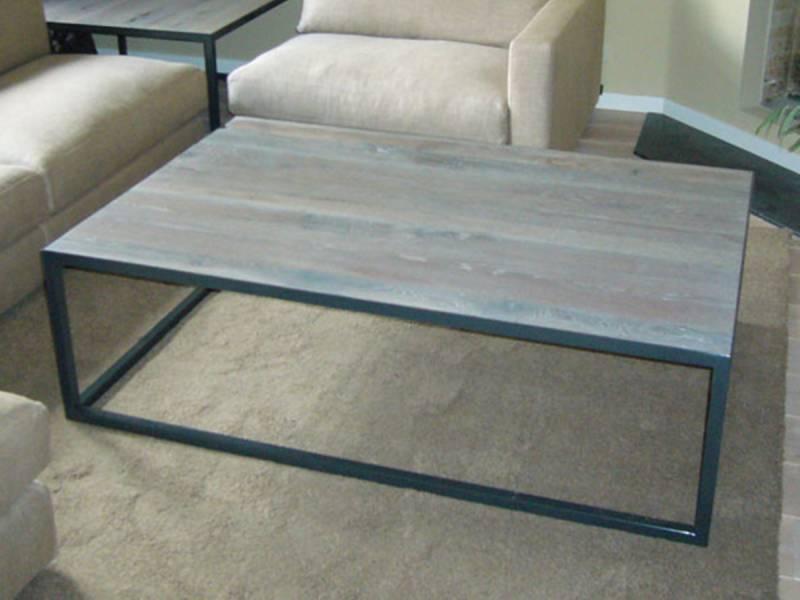 Salontafel eikenhout gepoedercoat staal frame   Te Boveldt Meubelmakerij  u0026 Interieurbouw