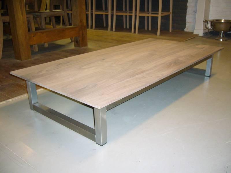 Salontafel eikenhout RVS frame   Te Boveldt Meubelmakerij  u0026 Interieurbouw