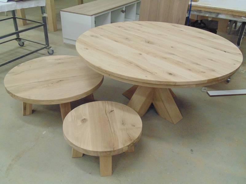 Salontafel set eettafel rond eiken schuine poot   Te Boveldt Meubelmakerij  u0026 Interieurbouw