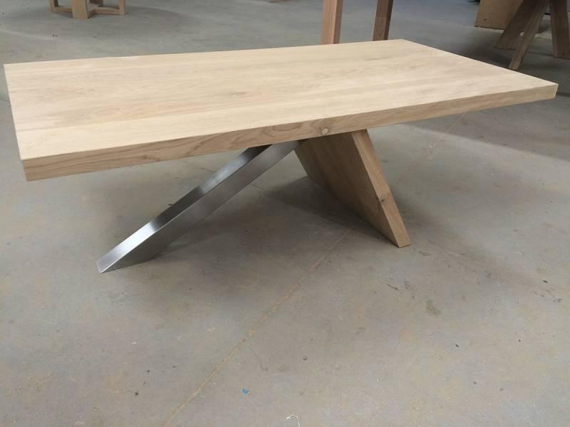 Salontafel springplank modern RVS eikenhout   Te Boveldt Meubelmakerij  u0026 Interieurbouw