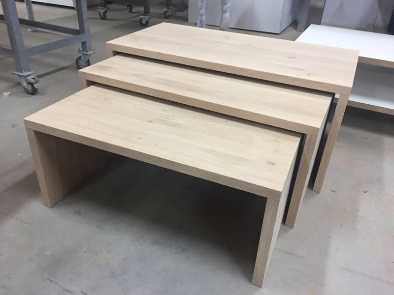 Salontafels eikenhout licht rustiek strak set   Te Boveldt Meubelmakerij  u0026 Interieurbouw