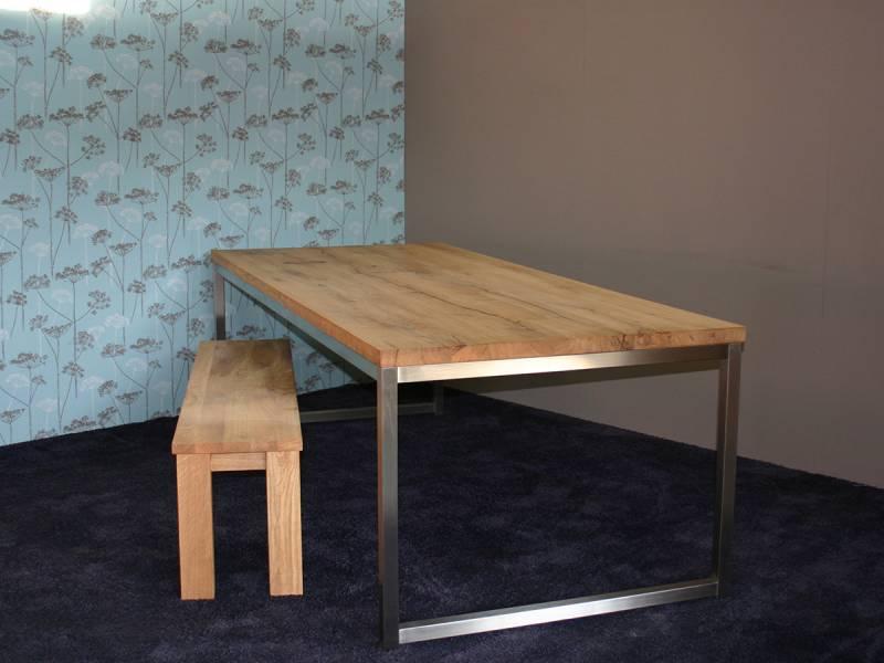 Tafel met bankje eikenhout RVS onderstel   Te Boveldt Meubelmakerij  u0026 Interieurbouw