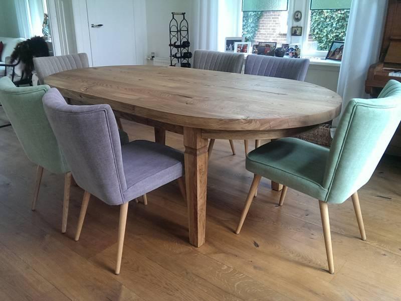 Tafel ovaal klassieke poot eiken te boveldt meubelmakerij