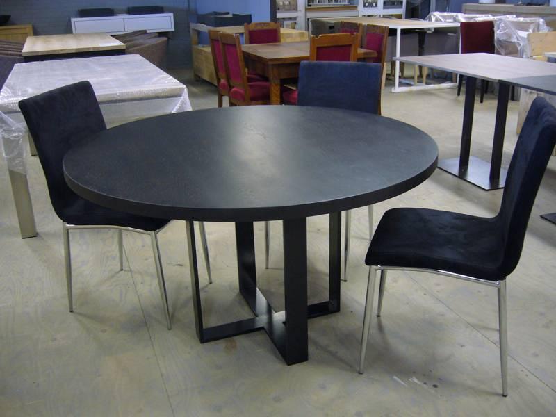 Tafel rond ral eiken gepoedercoat staal te boveldt meubelmakerij