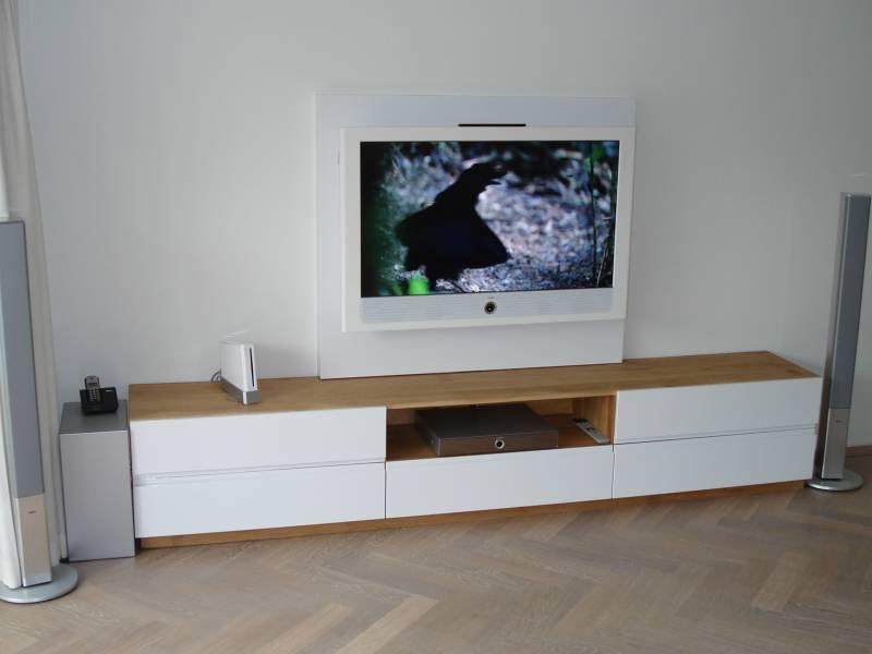 Modern Landelijk Tv Meubel.Tv Meubel Eikenhout Mdf Ral 9010 Zijdeglans Te Boveldt