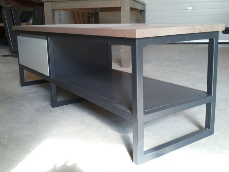 Zelf salontafel maken mdf : Tv meubel gepoedercoat staal mdf eiken te boveldt