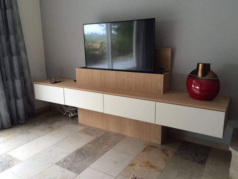 Tv meubel lift lade klep eiken RAL 9010   Te Boveldt Meubelmakerij  u0026 Interieurbouw
