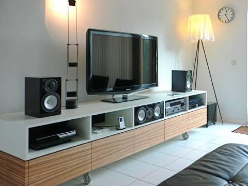 Tv meubel mdf ral 9010 zijdeglans zebrano fineer te boveldt