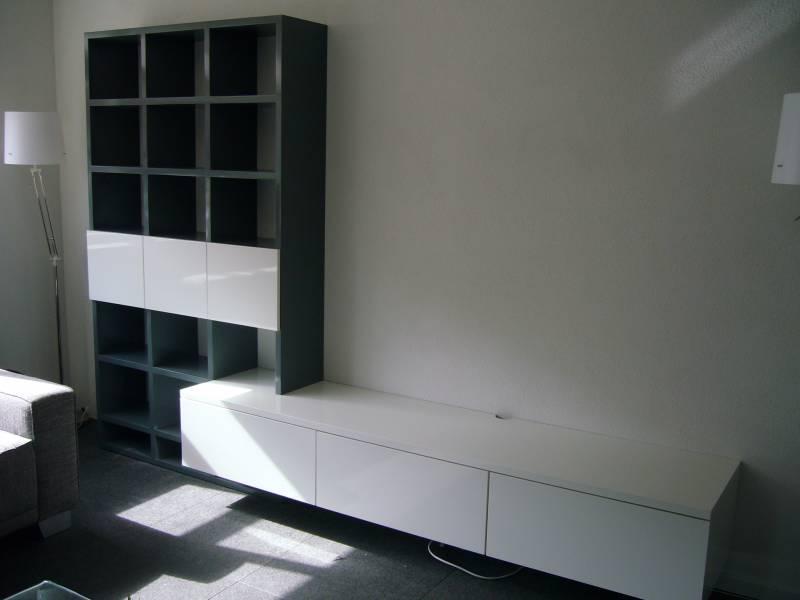 Tv meubel met boekenkast RAL kleur zijdeglans   Te Boveldt Meubelmakerij  u0026 Interieurbouw