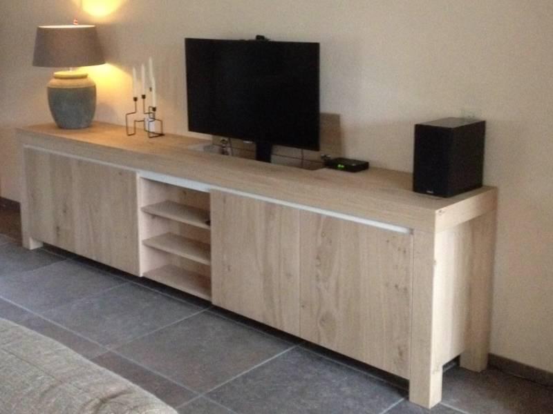 Tv meubel met lift eiken te boveldt meubelmakerij interieurbouw