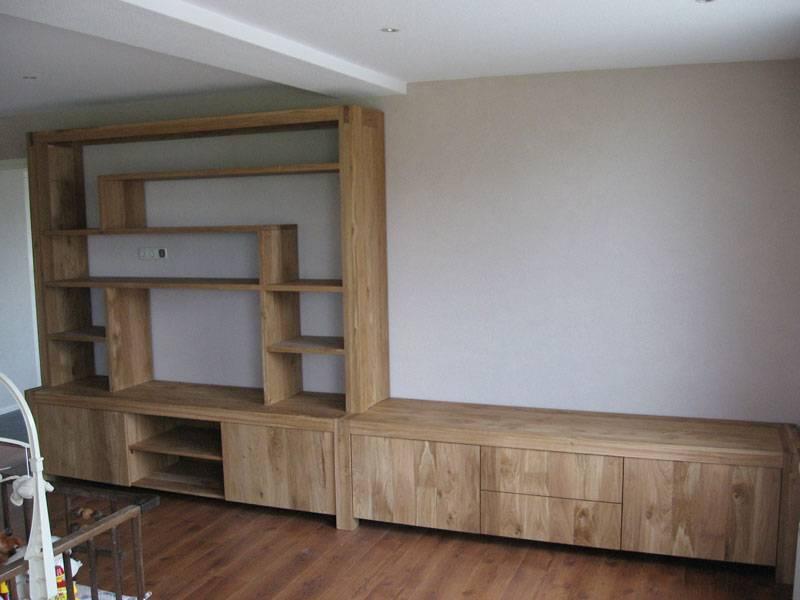 Tv meubel wandkast eikenhout blanke olie te boveldt for Tv wandkast
