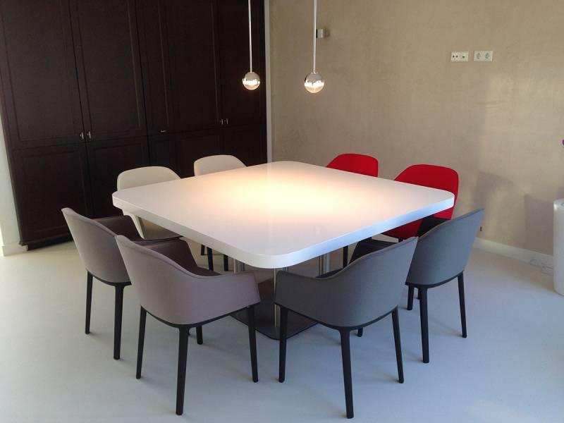 Eettafel Wit Vierkant.Vierkante Tafel Rvs Hoogglans Ral Te Boveldt Meubelmakerij